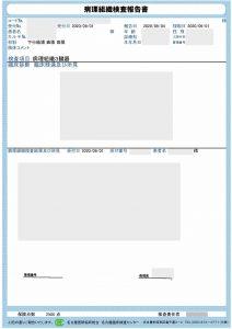 病理組織診断報告書のイメージです。