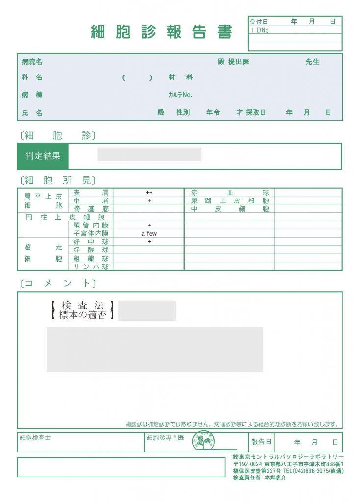 細胞診報告書イメージ
